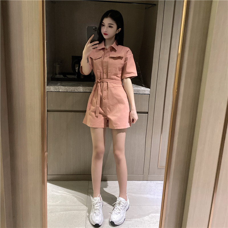 2020 new slim slim and tall Jumpsuit overalls workwear shorts pink casual Jumpsuit womens summer