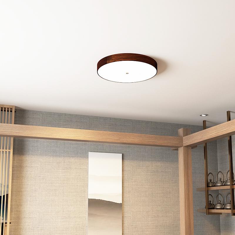 超薄客厅灯圆形卧室灯 新中式灯具简约现代led黑胡桃实木吸顶灯