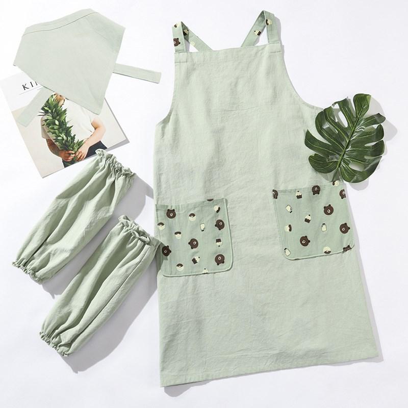 背心式棉麻可爱亲子围裙韩版奶茶店纯棉夏季厨房小清新工作服袖套