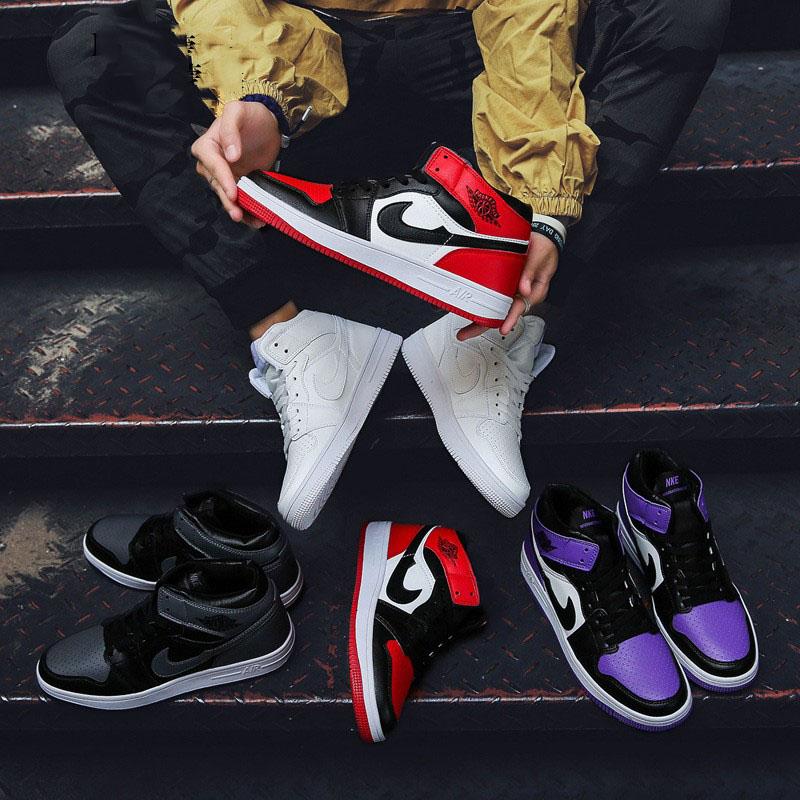 运动鞋男女黑红脚趾鞋篮球小闪电空军高帮aj1一号鸳鸯倒钩学生鞋