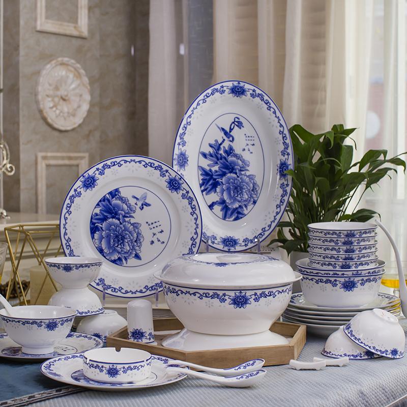 Jingdezhen blue and white porcelain bowl and dish tableware set