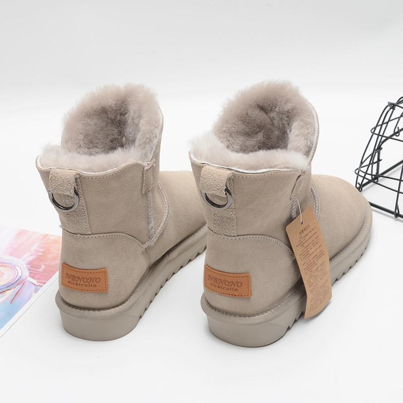 牛皮雪地靴女短筒2019新款真皮羊毛短靴冬季保暖百搭皮毛一体棉鞋