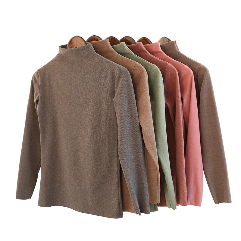 阳离子打底衫女韩国秋冬新款半高领纯色高弹保暖百搭长袖衫保暖衫