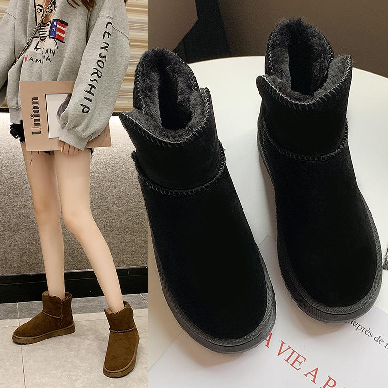 2019冬新款时尚百搭加绒加厚短筒东北抗寒保暖雪地靴女棉鞋短靴