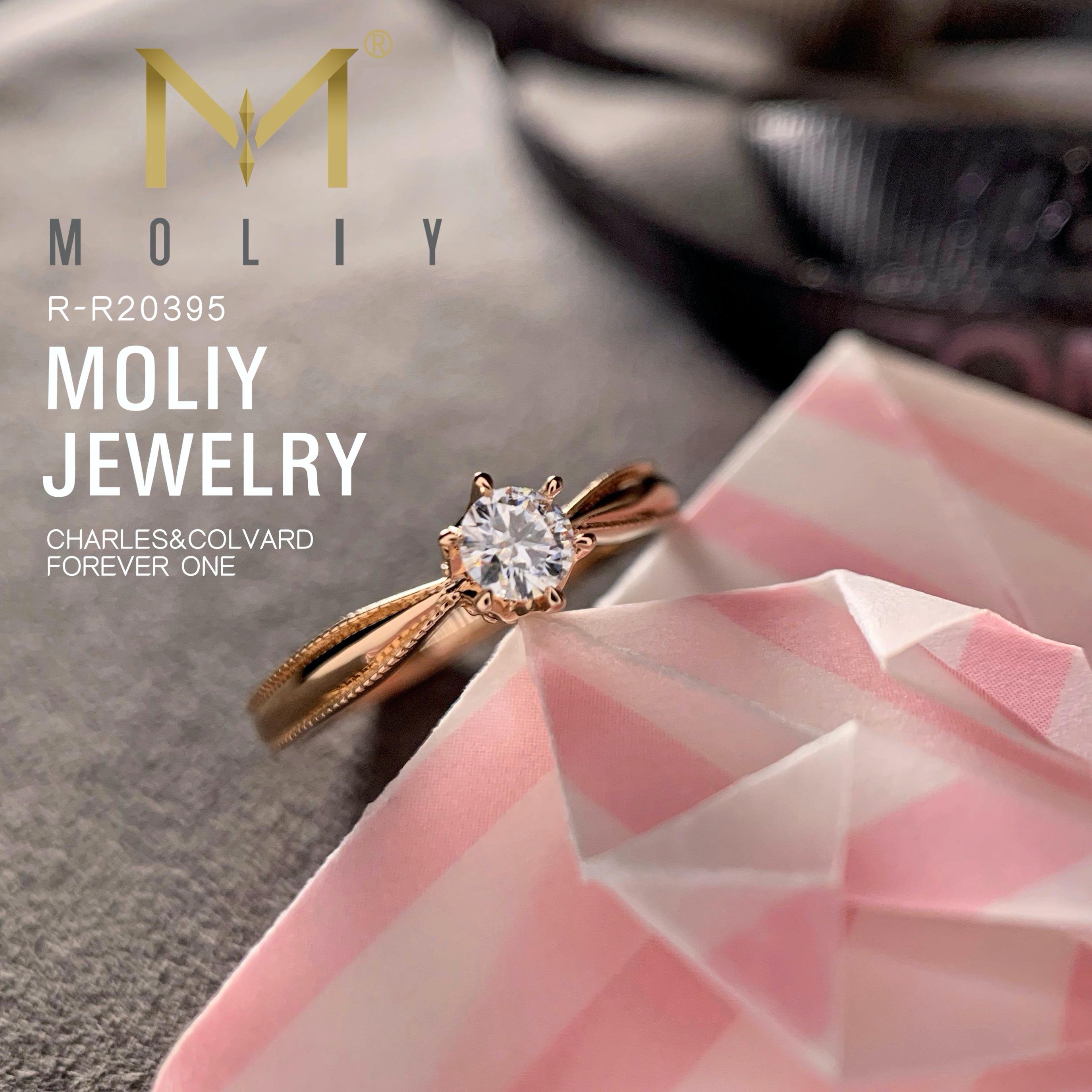 MOLIY美国CC热卖D色莫桑石日系公主小皇冠露珠女式戒指18K玫瑰金