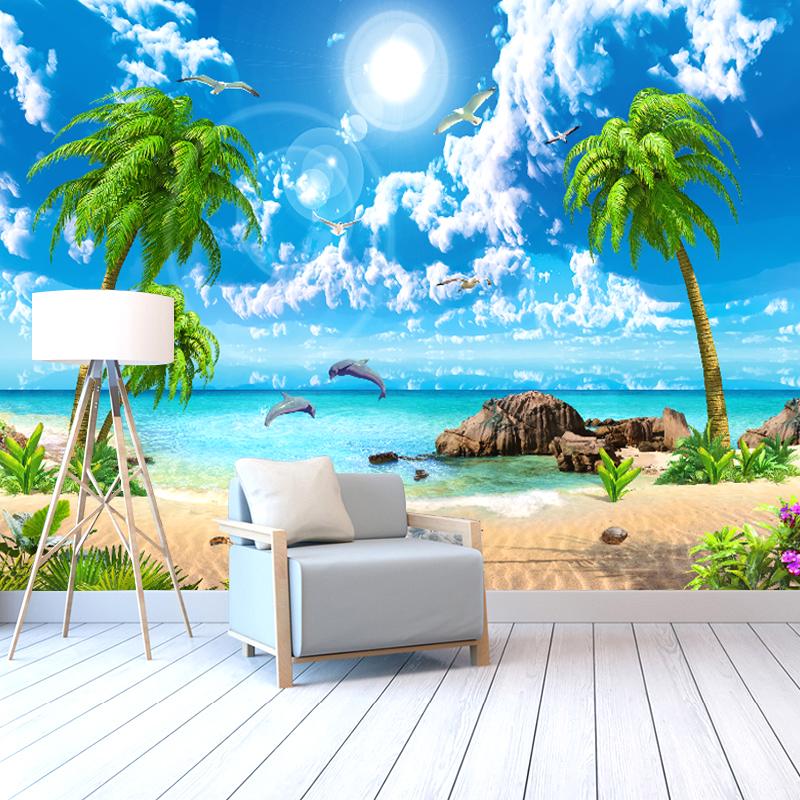 满10元可用10元优惠券3d海景沙滩墙纸定制立体风景画壁画