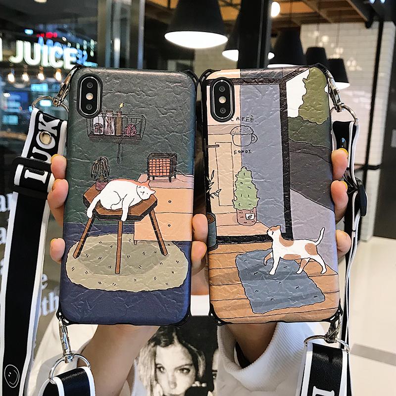 日系文艺卡通苹果x手机壳iphone8plus磨砂xs max防摔xr可以背的手28.80元包邮