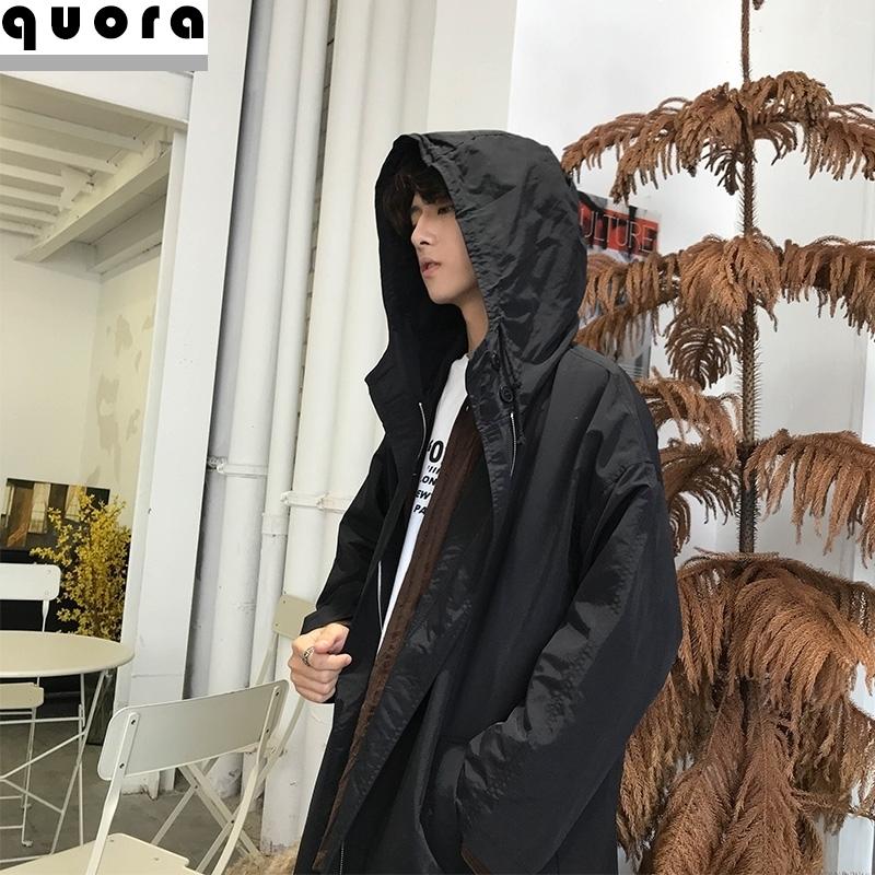 全黑巫师男士韩版中长款旅游宽松外套长袍风衣宽大胖子帅气带帽潮