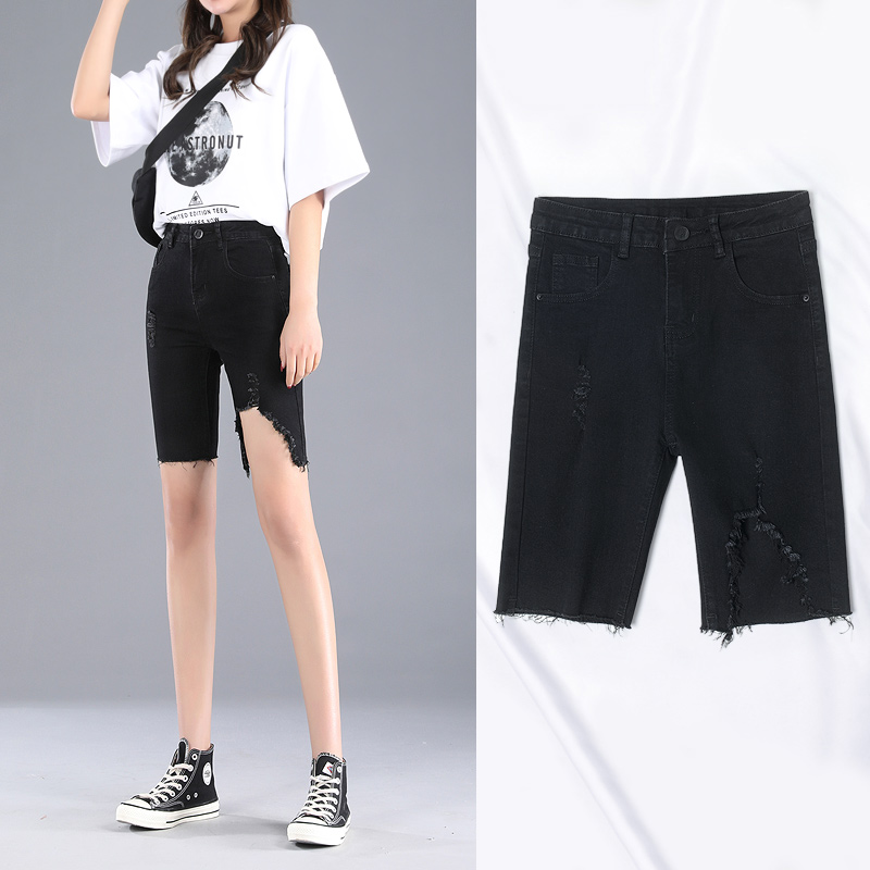 Tight quarter pants womens summer hole denim shorts womens spring 2020 New Black Slim high waisted raw edge pants