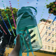 Taiwan green shell large capacity water bottle outdoor portable sports large water cup with straw plastic water bottle space Cup