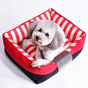 Ninkin能亲水手条纹帆布狗窝可拆洗狗床比熊泰迪柯基柴