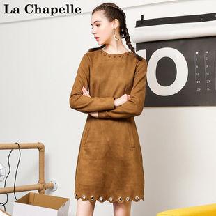 拉夏貝爾Puella冬季新款韓版顯瘦收腰復古麂皮絨連衣裙女20011267
