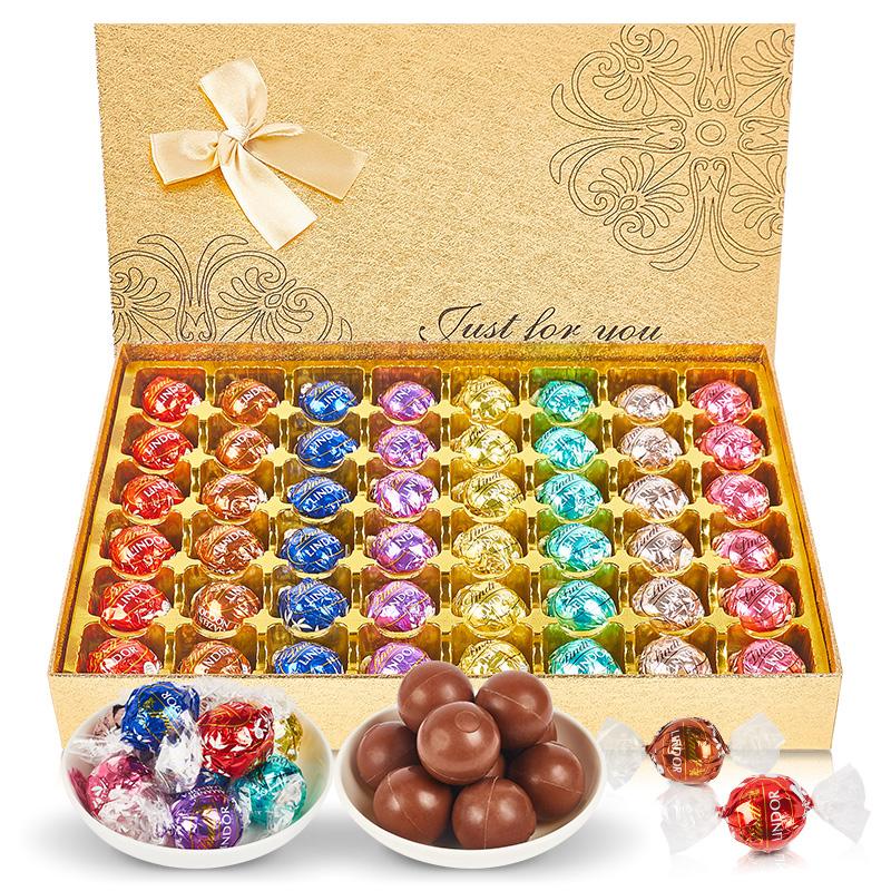 Lindt瑞士莲软心球巧克力礼盒装 零食生日礼物送女朋友年货礼盒