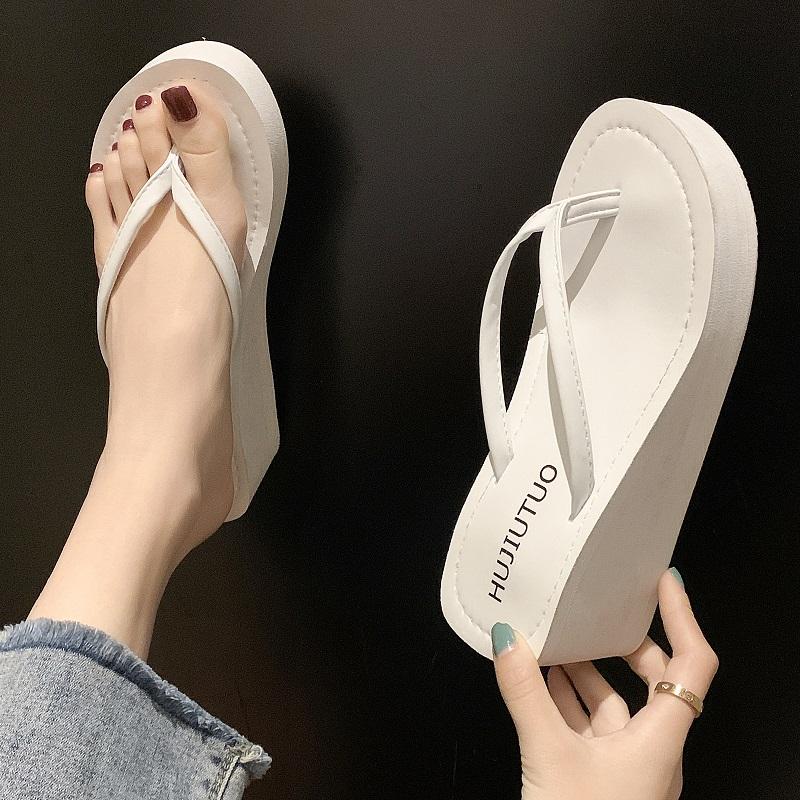 人字拖女厚底夏时尚网红高跟拖鞋防滑夹脚沙滩海边外穿坡跟凉拖鞋