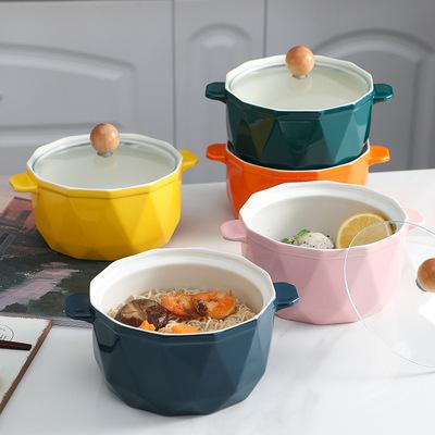 泡面碗陶瓷带盖饭盒方便面杯餐具碗筷套装日式单个大碗学生宿舍用