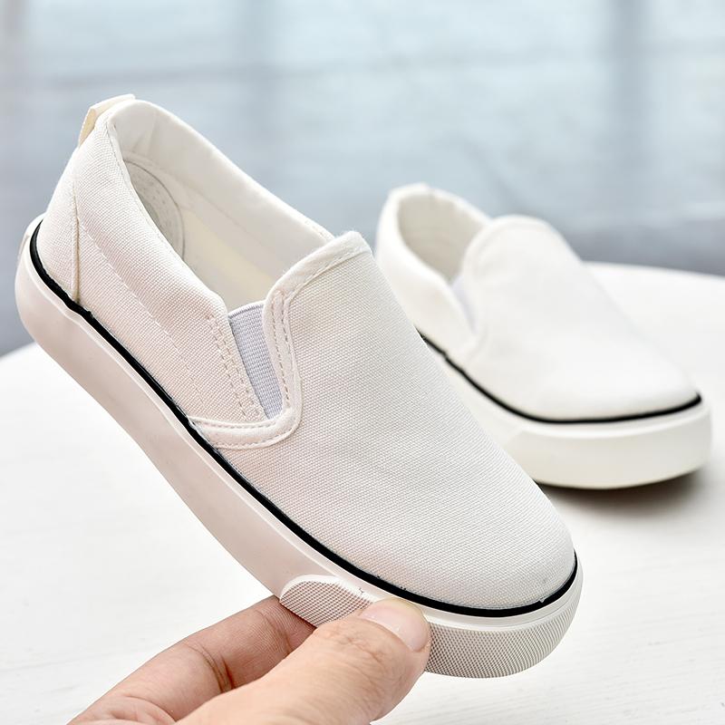 儿童帆布鞋春秋款男童布鞋女童小白鞋宝宝一脚蹬幼儿园室内鞋童鞋