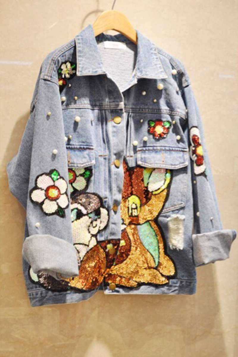 Cartoon Sequin embroidered denim outerwear for women 2020 spring new Korean student casual jacket outerwear fashion