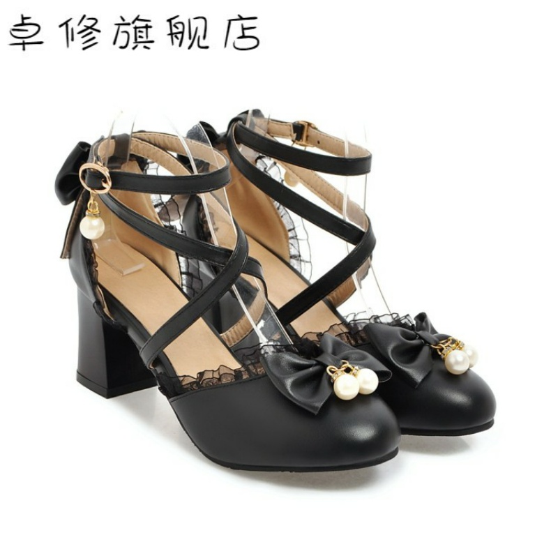 ? Round head shallow mouth Lolita shoes bow high heels princess shoes lace Lolita summer female sandals student