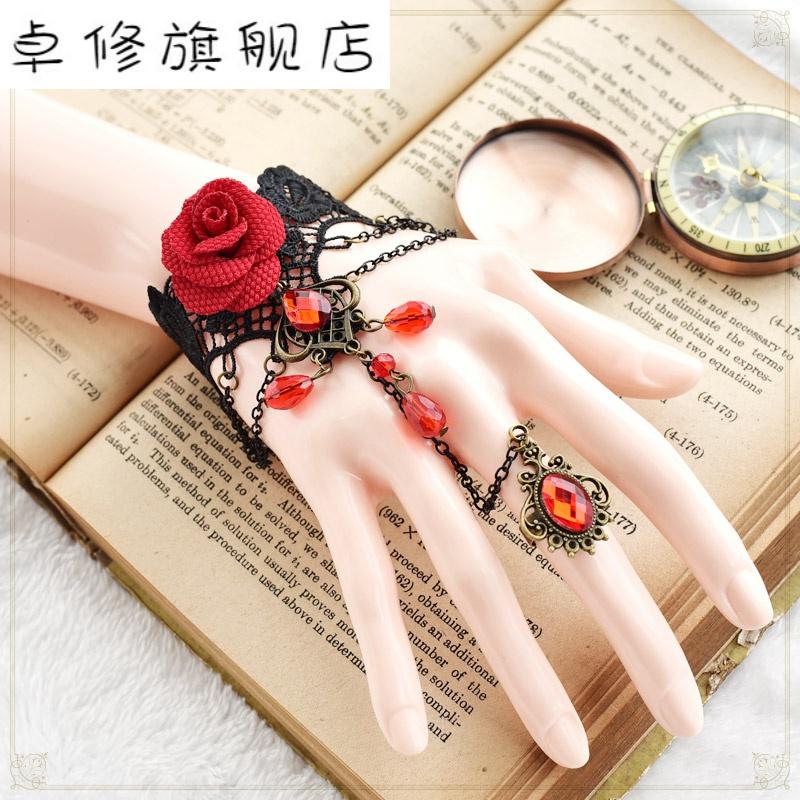 ? Norita Lolita Wristband Bracelet Vintage Rose gloves accessories gothic dress punk match