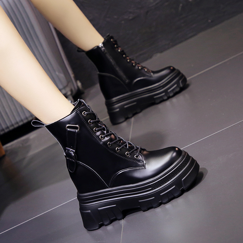 10cm heightening Martin boots 2021 autumn new versatile thick soled motorcycle boots show thin high heel low tube boots single boots