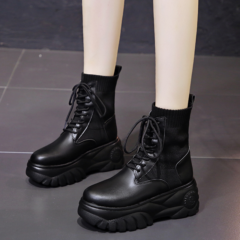 New autumn and winter 2020 new high sole Martin boots with 7cm in height for womens feet small high heel short boots elastic short boots