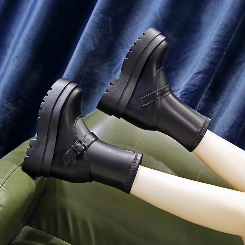 2020 autumn new 10 cm thick soled Martin boots for women to show thin high heel short boots for children