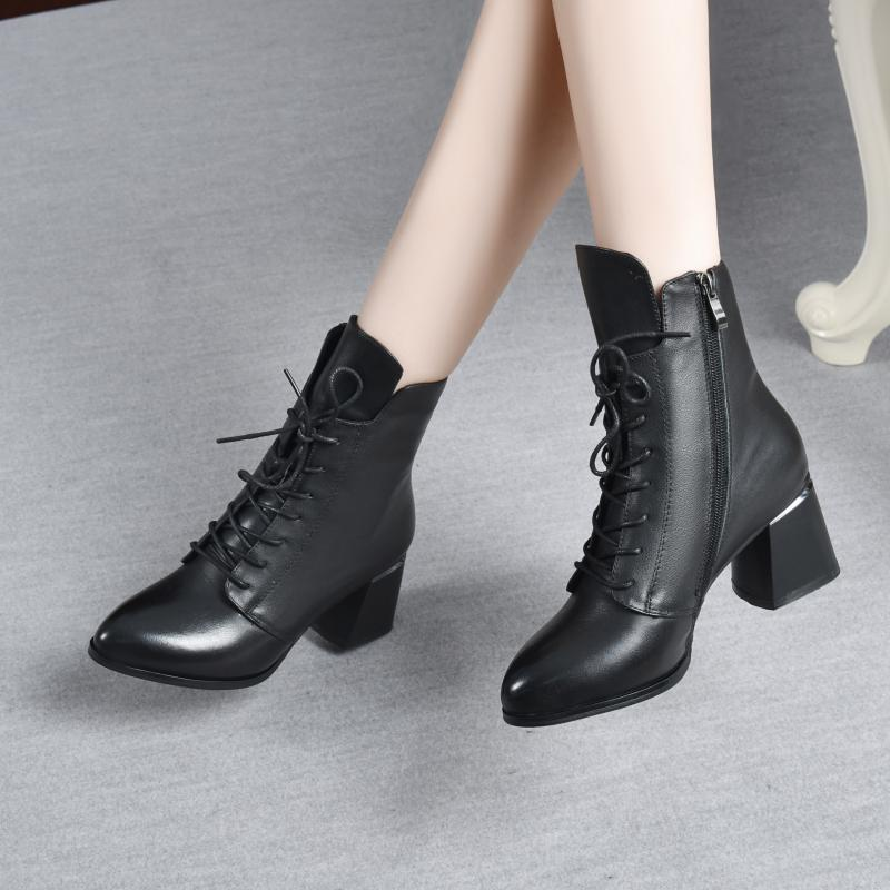 Leather boots 2020 new shoes British style winter pointed high heeled boots spring and autumn single boots thick heeled Martin boots women