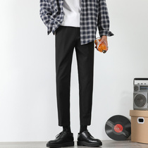 西装裤男直筒港风九分裤坠感小西裤休闲小脚裤加绒韩版修身长裤