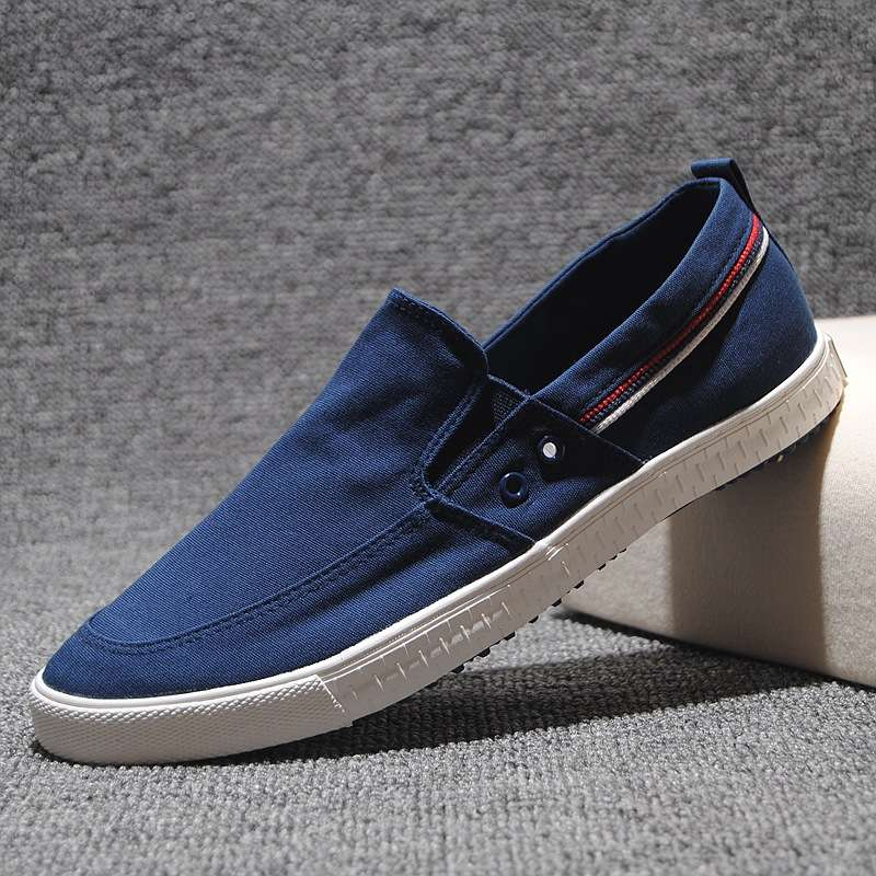 Canvas shoes mens youth breathable board shoes plain leisure Korean version one foot pedal lazy shoes cover foot mens cloth shoes light