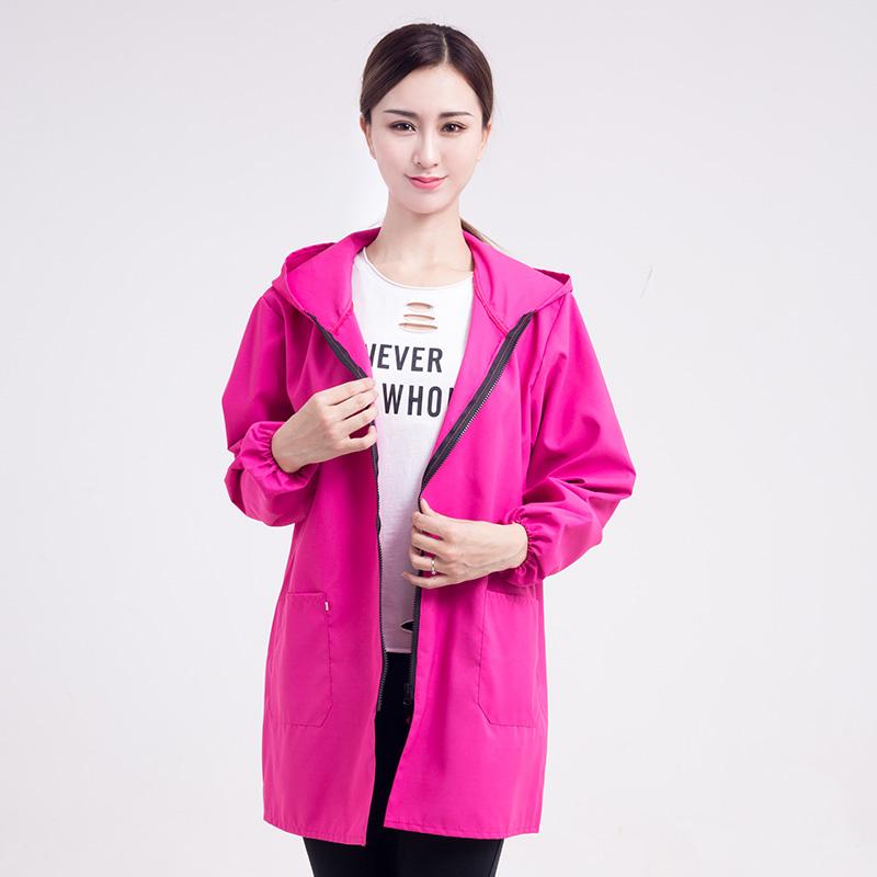 日本女围裙罩衣大人家用上作服韩版工作罩衣 班时尚防水连帽拉链