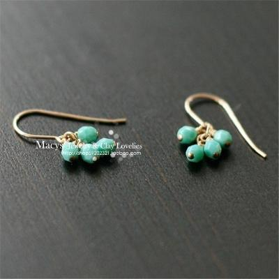 Paris small fresh and fresh Department lovely turquoise color Czech Glass Drop Earrings