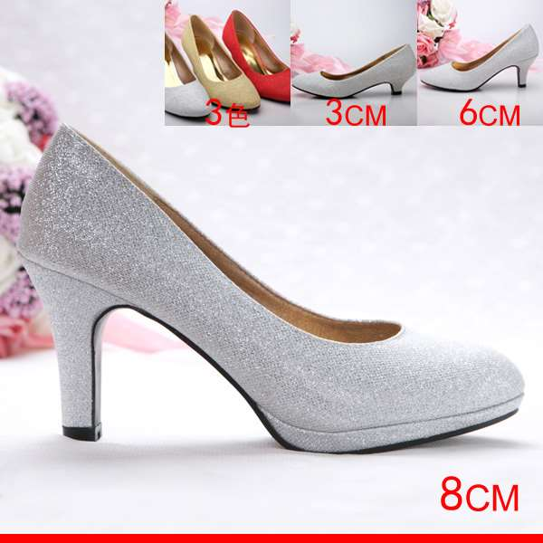 New silver red gold round head shiny waterproof platform high heel womens single shoes dress shoes wedding shoes Bridesmaid shoes performance shoes
