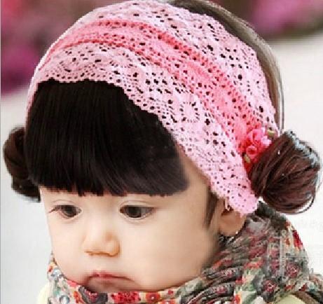 韩国发带 宝宝小头 公主发网套头发韩版刘海儿童小卷假发