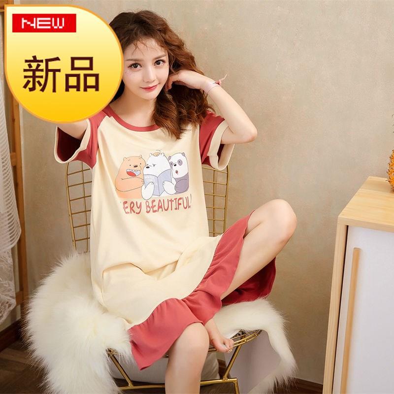 Pajama woman summer Lovely Japanese skirt sweet sleep w skirt summer Korean version lovely loose three increase cotton sweet