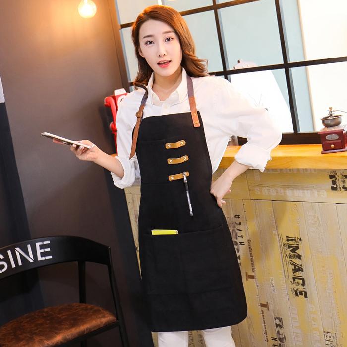 韩版时尚纯帆布围裙定烘焙家居服务员工作服制logo印字西餐厅酒吧