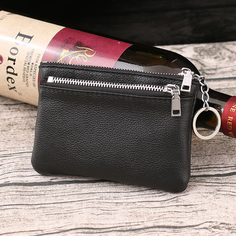 。 Leather Wallet cow leather bag zipper small purse mens small card bag coin bag double layer Coin Purse 2020 NEW