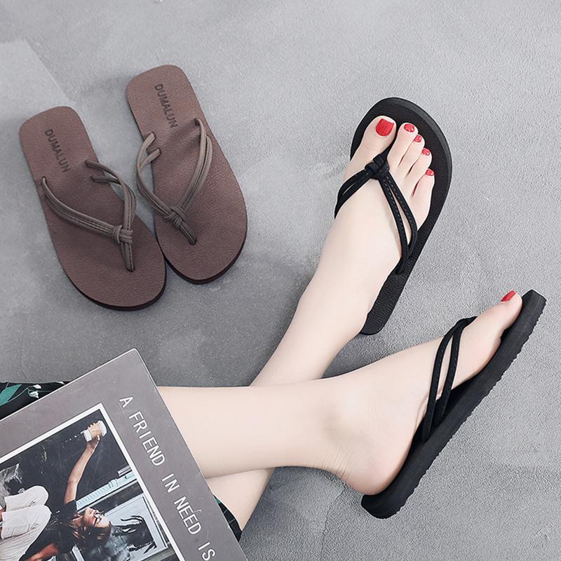 人字女夏外穿防滑平底软底沙滩鞋