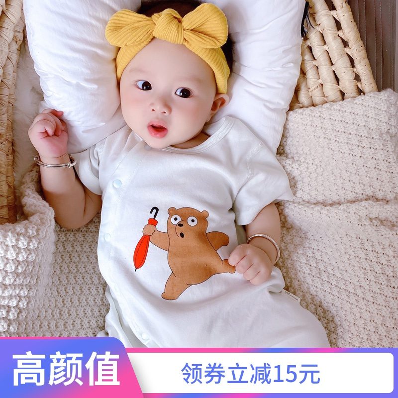 Newborn baby short sleeve Jumpsuit summer thin mens lovely Romper womens climbing clothes air conditioning clothes baby clothes summer clothes