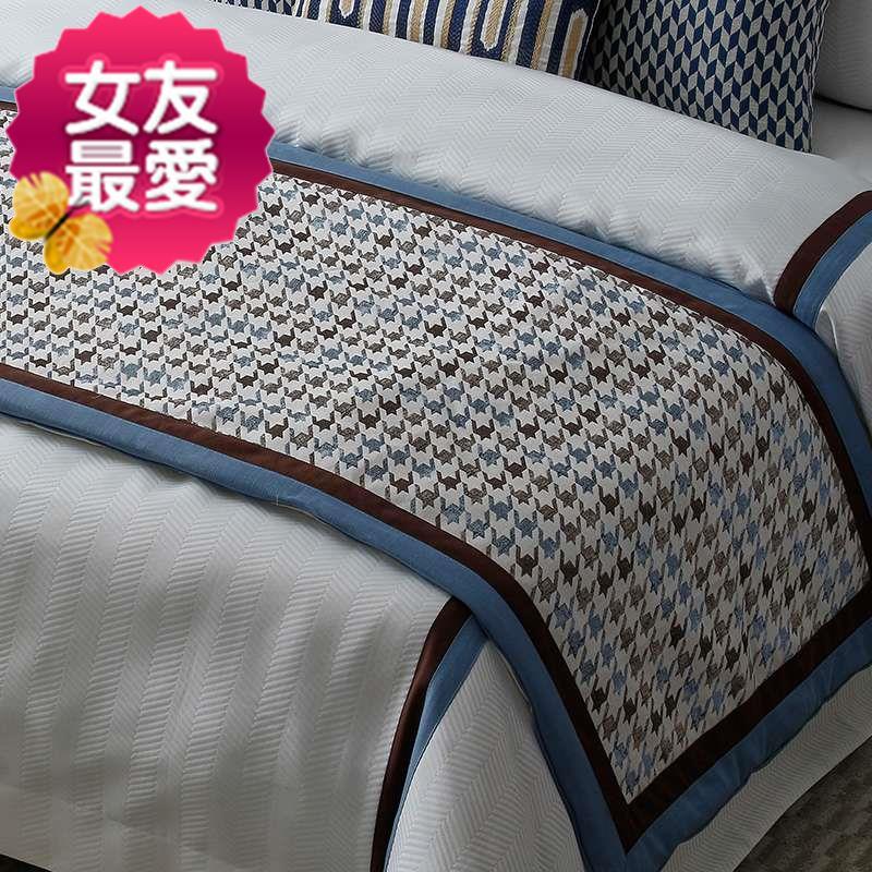 美式简约蓝棕样板房间床上p用品软装床品主卧室家具陈设布艺软饰