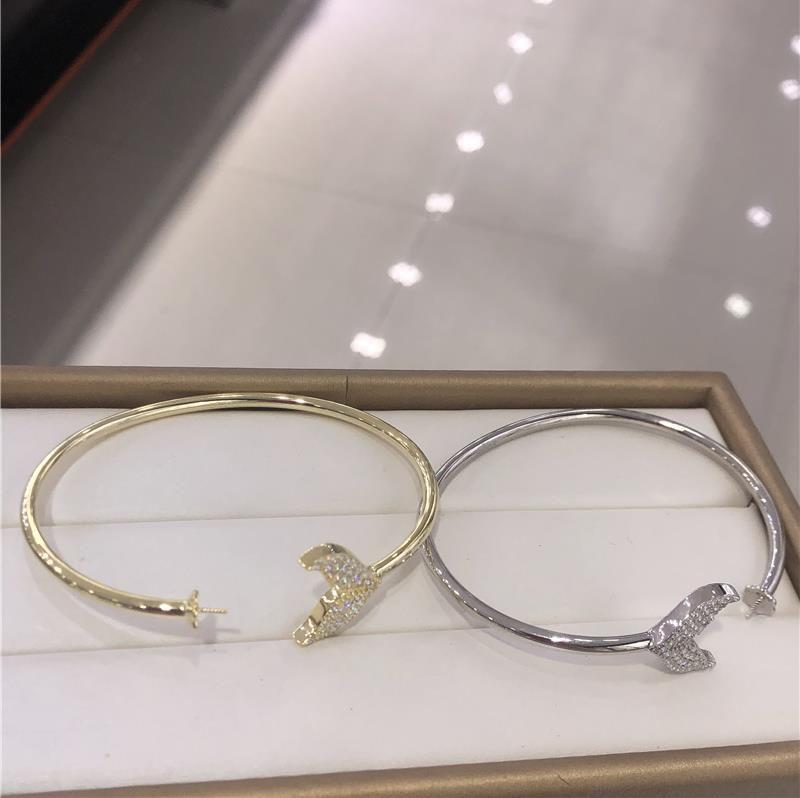 国产精致S925纯银金色珍珠DIY鱼尾手镯锆石个性时尚手环日韩网红