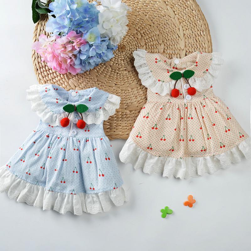 泰迪公主花裙子猫咪小型犬夏季薄款网红狗狗衣服纯棉可爱春天连身