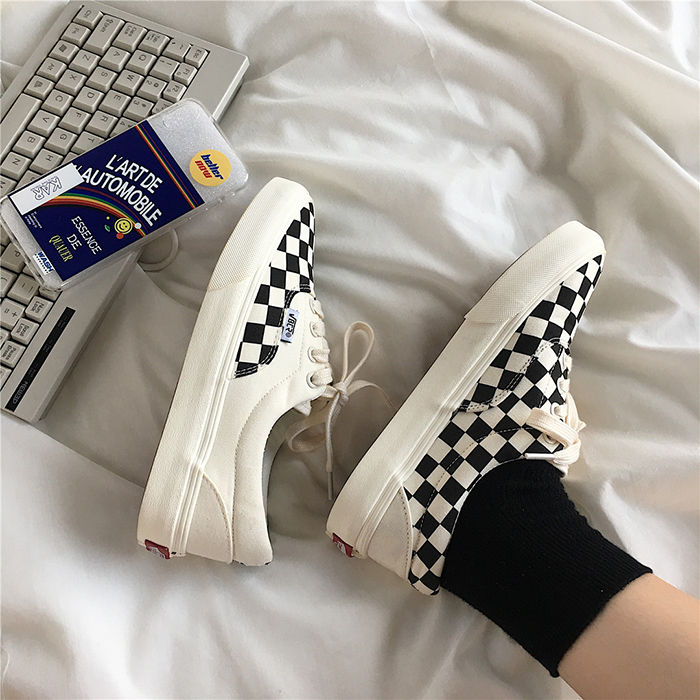 Plaid canvas shoes for female students, Korean version, mix and match the original Sufeng couples small white shoes, flat cloth shoes, INS net red shoes