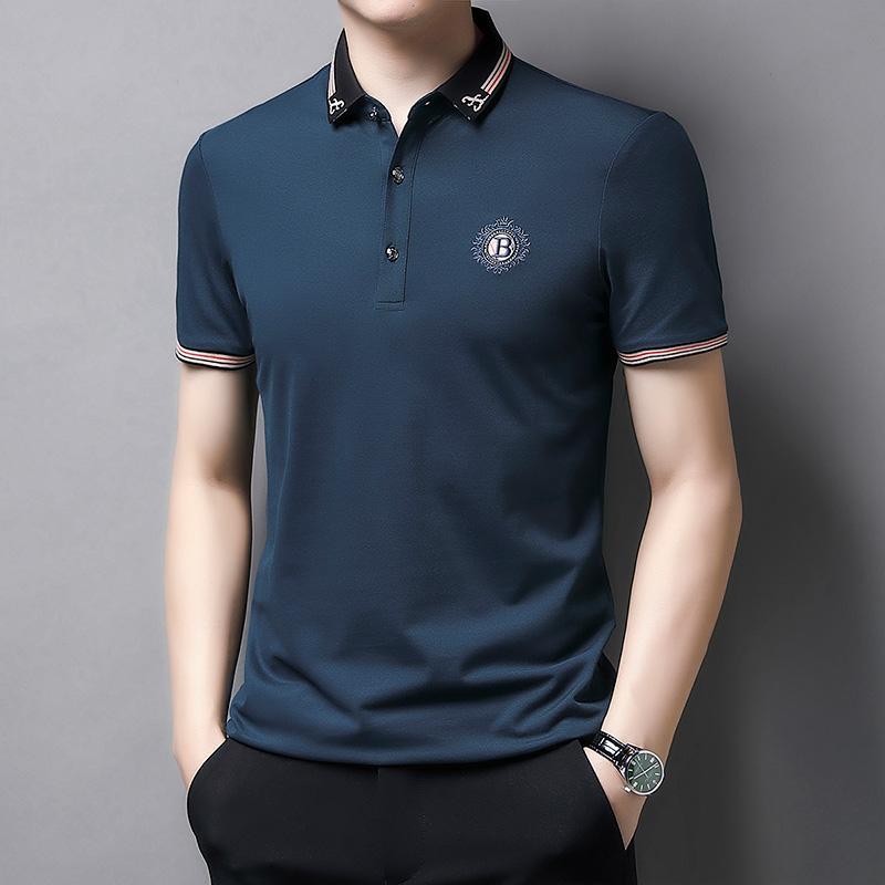 2021新款中年冰丝刺绣POLO衫短袖薄商务休闲爸爸装翻领休闲T恤衫