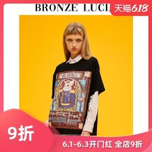王晨艺男女同款 t恤女夏短袖 Lucia胡歌 设计师印花黑色款 Bronze 衫