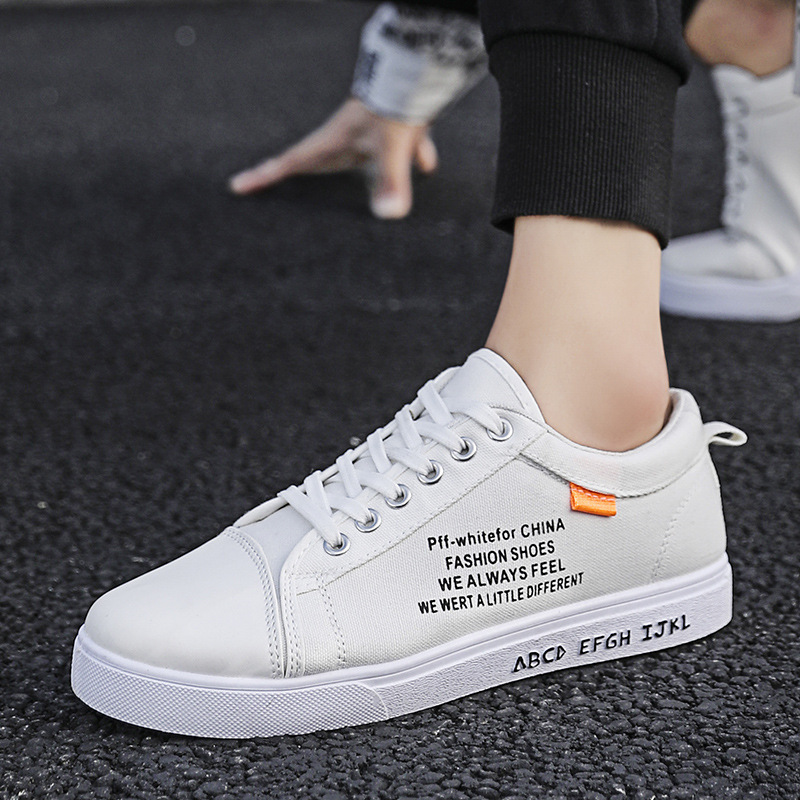 Fall 2020 Korean mens canvas shoes low top lace up single shoes breathable student boys casual mens shoes