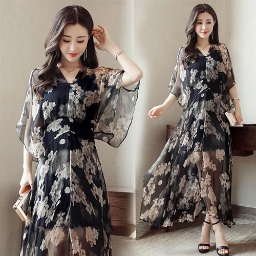限9000张券nX385714 长裙显瘦修身连衣裙圆领高腰套头短袖2019年春季印花。