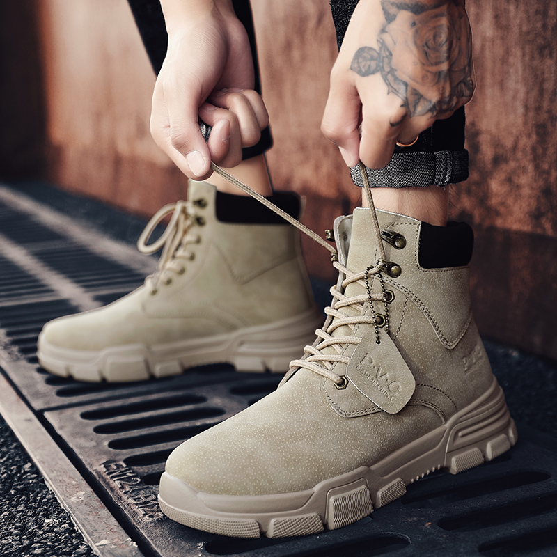 Martin boots mens winter Vintage British high top shoes mens tide short boots mid band all over Korean tooling autumn