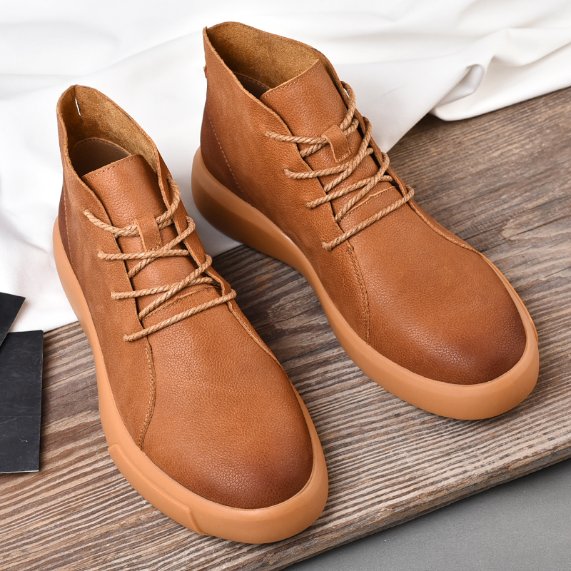 Winter Martin boots mens Plush warm snow boots leather British cotton waterproof large size Chelsea high top leather shoes man