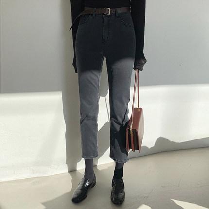牛仔裤女黑色九分裤子 秋冬图片