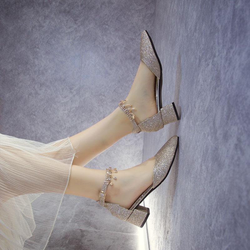 香槟色水晶婚鞋孕妇可穿低跟粗跟3cm新娘公主宴会百搭伴娘礼服鞋